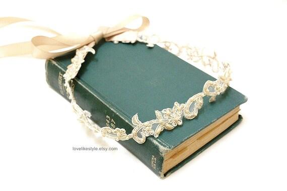 Skinny Gold Flower and Pearl Beading  Lace with Champagne Ribbon HeadBand / Skinny Lace Sash, Bridal Sash, Bridesmaid Sash,Item No 44