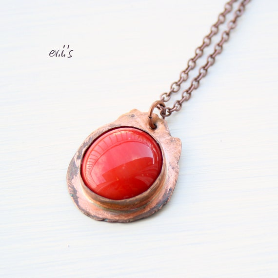 Handcrafted Copper Round Eco Friendly Oxidized Artisan Statement Pendant Necklace with Red Glass Round Bead Gift for Her.Free Shipping