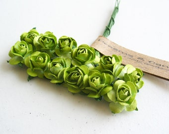 3 flowers Branch Olive Green 36 Paper Flowers