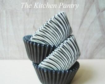 Bulk Mini Cupcake Liners -  Mini Baking Cups -  Cake Pops  -   140 Mini  Black  Stripe