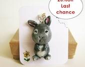 Bunny necklace , animal totem, polymer clay animal pendant