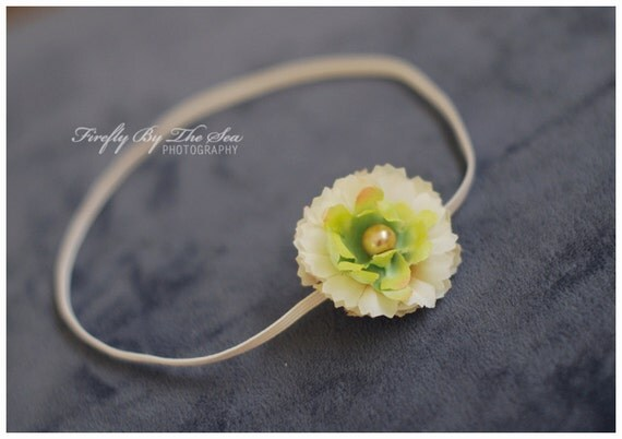 Ready to ship small flower headband in shades of cream white and green with a pearl center on skinny elastic photo prop or daily use