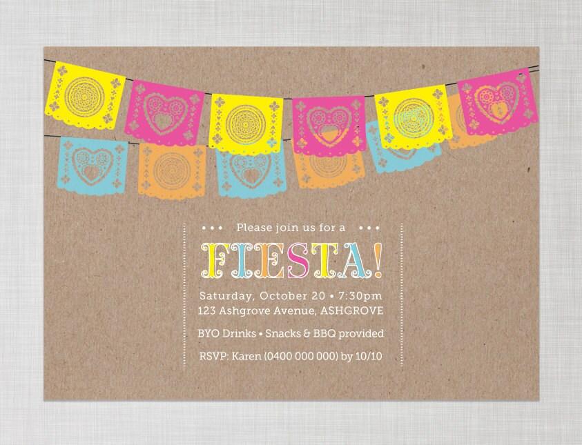 Printable Papel Picado – Mexican Flags – Fiesta Invitation ...