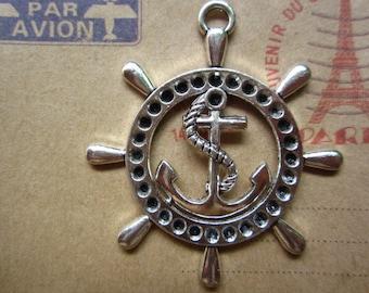 2pcs 50x45mm antique silver rudder anchor charms pendant B376
