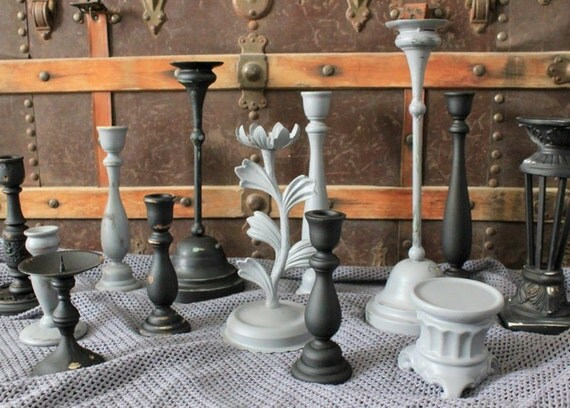 13 Piece Candlestick Collection - Candlestick Set - Black and Grey