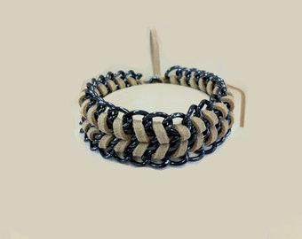 Mco Jewelry Beige Suede and Chain Bracelet  (Men)