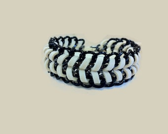 Mco Jewelry White Suede and Chain Bracelet (Men)
