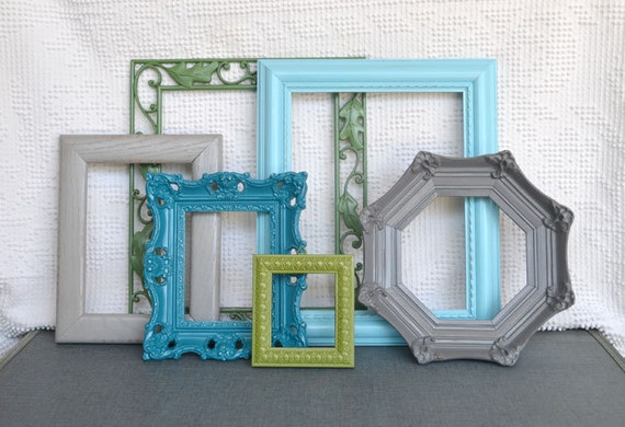 Aqua, Teal, Greys and Greens - Modern Ornate Frames Set of 6 Upcycled Painted Frames.. great for Gallery Wall, Modern Decor