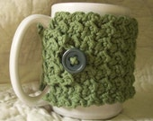 Crocheted Coffee Cozy / Mug Warmer in Sage Green