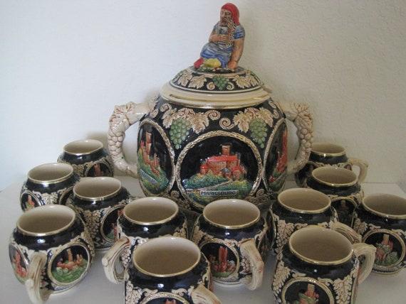 Vintage German Marzi Remi M R Punch Bowl Set W Mugs