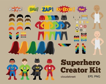 20% OFF Superheroes Creator Kit clip art for personal and commercial use ( superhero clipart )