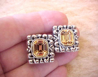 Lovely Vintage Clip On Style Earrings with Large Citrine Colored Stones