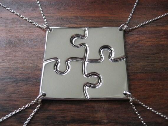 Four Corner Puzzle, Silver Pendant Necklaces