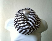 Circle scarf. Striped Infinity scarf, cowl, tube scarf in black and white jersey knit, EXTRA WIDE, chunky and cozy.READY To SHIp.
