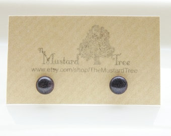 Blue goldstone gemstone sparkly round stud earrings studs surgical steel posts