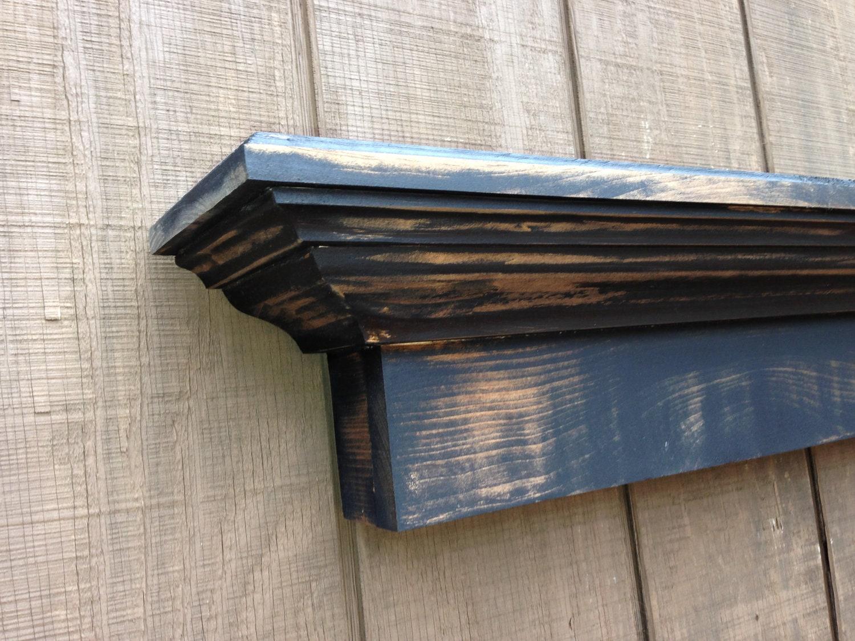 Benoist Reclaimed Wood Vanity Mirror: Rustic Wall Shelf Black Distressed Mantel By