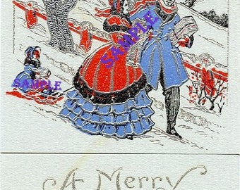 Digital Download-A Very Merry Christmas Greeting-vintage card