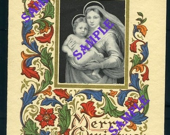 Digital Download-Religious Xmas Card-Vintage Madonna and Child