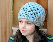 crochet girls hat beanie with flower
