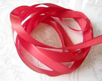 Samba -- Scarlet Red Satin Ribbon 3/8 -- 3 yards -- Wine -- 9.5mm