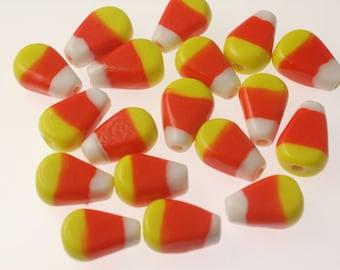 Handmade Lampwork Glass Beads -- Halloween Candy Corn (50)