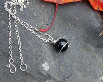 Black Onyx and Sterling Silver Wire Wrapped Necklace