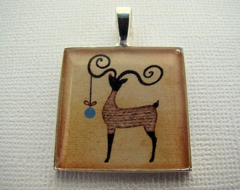 Resin Pendant, Reindeer, Primitive, Christmas, Holidays, Blue, Brown, Black, Beige, 1 inch, Square, For Her