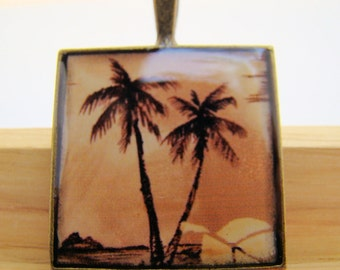 Resin Pendant, Palm Trees, Black, Brown, Orange, 1 inch, Unisex, Square