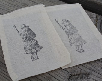 Set of 10 Hand stamped Alice In Wonderland Party Favor Muslin Bags 100% organic made in america