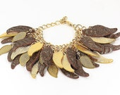 High Fashion Metallic Gold Leather/Brown Leather Handmade Statement Leaf Charm Bracelet - Charm Bracelet - Leaf Bracelet - Leather Bracelet
