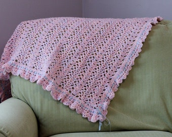 Pink Baby Blanket with Blue Accents