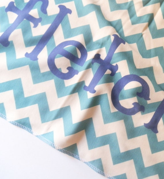 Monogrammed Baby Blanket, Chevron, Customize Color and Name, Birth Stats Personalized Baby Gift