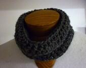Crocheted Cowl - Neckwarmer - Charcoal Grey - Soft, thick yarn