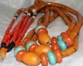 BURMA NAGA TRADE Beads Necklace 33in c1960