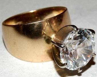 BIG RUSSIAN DIAMOND Ring 14k Gold 13.5g  c1970