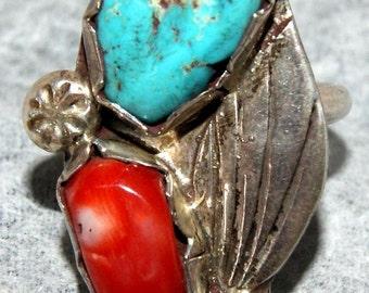 DAN SIMPLICIO RING Villa Grove Turquoise Size 6.5 c1940's