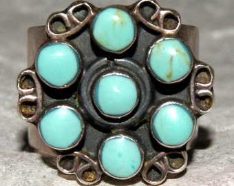 PAWN ZUNI RING Turquoise Sterling Size 7.75 Signed c1950