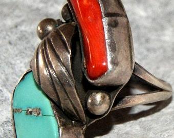 OLD PAWN NAVAJO Sterling Ring Kingman Size 6 c1960