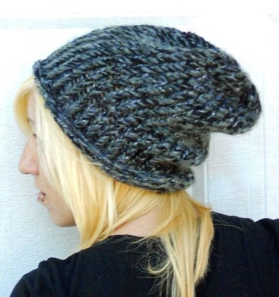 loom knit Army color mohair beanie, hat , cap