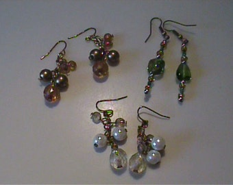 Three pairs of vintage dangle pierced earrings on wires