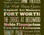 Fort Worth, Texas, Typography Poster/Bus/ Subway Roll Art 16X20-Floral Series-Fort Worth's Attractions Wall Art Decoration-LHA-170-C02