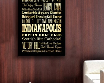 Indianapolis, Indiana, Big Typography Art Canvas - Subway Roll Art 30X40 - Indianapolis' Attractions Wall Art Decoration -  LHA-186
