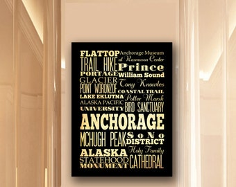 Large Typography Art Canvas of Anchorage, Alaska - Subway Roll Art 24X30 - Anchorage's Attractions Wall Art Decoration -  LHA-210