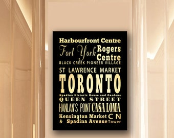 Large Typography Art Canvas of Toronto, Canada - Subway Roll Art 24X30 - Toronto's Attractions Wall Art Decoration -  LHA-260
