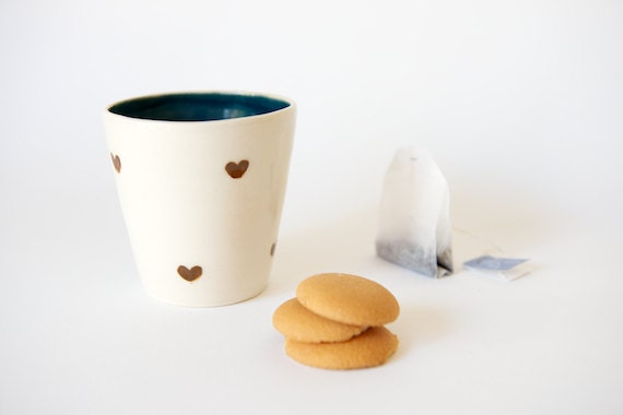 Ceramic Tumbler in Teal and Brown Hearts by RossLab