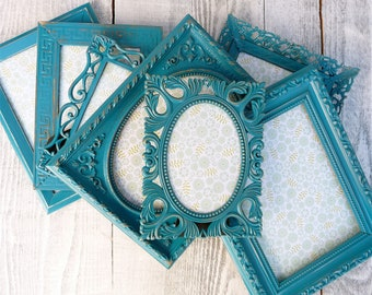 Turquoise Picture Frames - Set of 7 Painted Shabby Chic Picture Frames, Bright Turquoise Teal