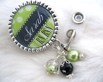 Green Personalized NURSE Id Badge Reel, Rn Cna Np Lmt, Nicu, BSN Bottle cap Jewelry Necklace Silver Pendant Pull ID Clip Medical nurse