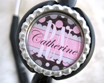 Personalized STETHOSCOPE ID TAG Jewelry Bottle Cap Charm Name Bag Clip Cover Id Badge