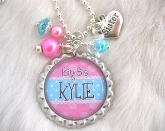 BIG SISTER Little Sister Jewelry, Personalized Childrens Name Jewelry Bottle cap Turquoise Blue Pink Necklace, Personalized Kids jewelry