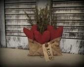 Primitive Valentine Love Letter Bowl Filler Or Decor